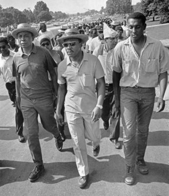 Floyd McKissick, Martin Luther King Jr., & Stokely Carmichael lead march